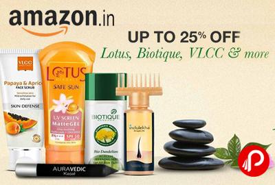 Lotus, Biotique, VLCC Upto 25% off - Amazon