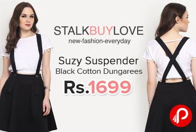 Suzy Suspender Black Cotton Dungarees