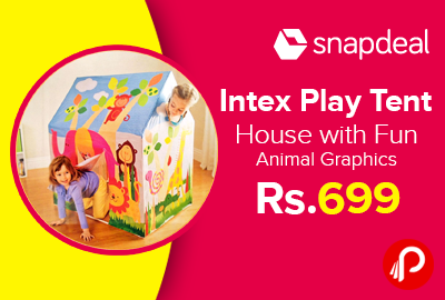 Intex Play Tent House with Fun Animal Graphics