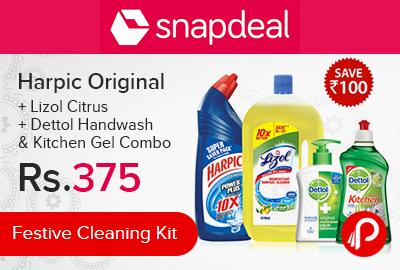 Harpic Original + Lizol Citrus + Dettol Handwash & Kitchen Gel Combo   Festive Cleaning Kit - Snapdeal