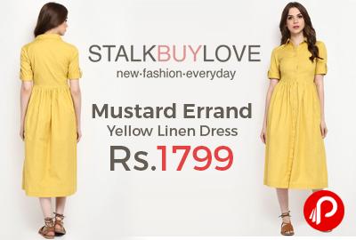 Mustard Errand Yellow Linen Dress