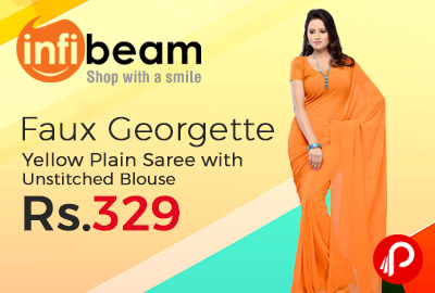 Faux Georgette Yellow Plain Saree with Unstitched Blouse