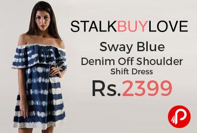 Sway Blue Denim Off Shoulder Shift Dress J