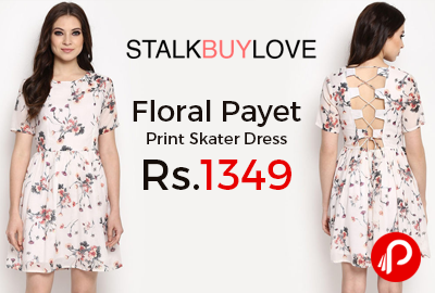 Floral Payet Print Skater Dress