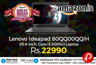 Lenovo Ideapad 80QQ00QQIH (15.6-inch, Core i3-5005U) Laptop