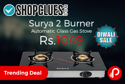 Surya 2 Burner Automatic Glass Gas Stove Just Rs.1049