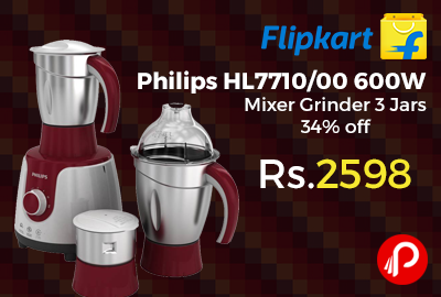 Philips Hl7710 00 600w Mixer Grinder 3 Jars 34 Off At Rs 2598