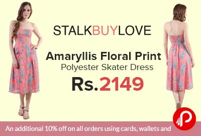 Amaryllis Floral Print Polyester Skater Dress