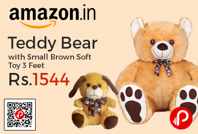 Teddy Bear with Small Brown Soft Toy 3 Feet