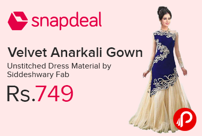 Velvet Anarkali Gown Unstitched Dress Material