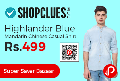 Highlander Blue Mandarin Chinese Casual Shirt