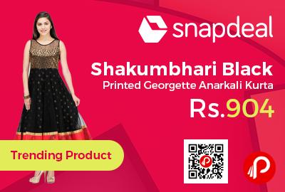 Shakumbhari Black Printed Georgette Anarkali Kurta