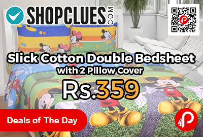 Slick Cotton Double Bedsheet with 2 Pillow Cover