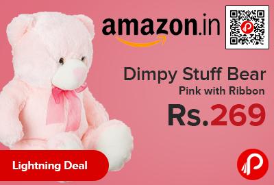 Dimpy Stuff Bear Pink with Ribbon