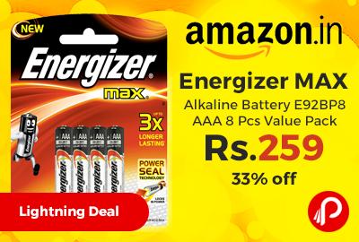 Energizer MAX Alkaline Battery E92BP8 AAA 8 Pcs Value Pack