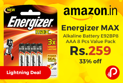 Energizer MAX Alkaline Battery E92BP8 AAA 8 Pcs Value Pack