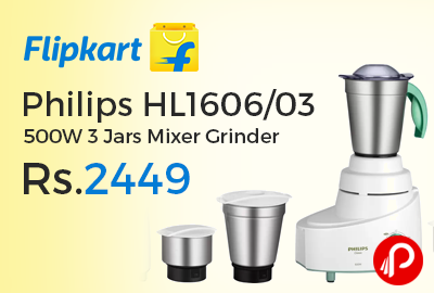 Philips HL160603 500W 3 Jars Mixer Grinder at Rs.2449