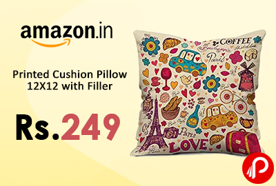 Printed Cushion Pillow 12X12 with Filler
