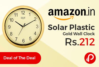 Solar Plastic Gold Wall Clock