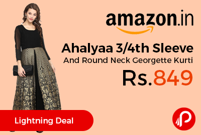Ahalyaa 3/4th Sleeve And Round Neck Georgette Kurti