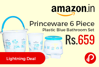 Princeware 6 Piece Plastic Blue Bathroom Set