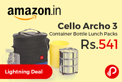 Cello Archo 3 Container Bottle Lunch Packs at Rs.541 Only - Amazon