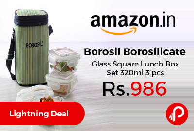 Borosil Borosilicate Glass Square Lunch Box Set 320ml 3 pcs