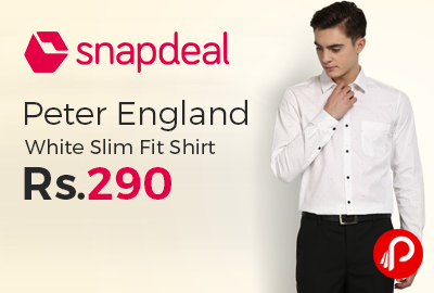 Peter England White Slim Fit Shirt