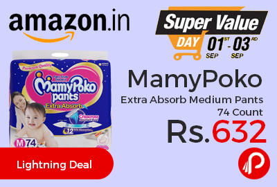 MamyPoko Extra Absorb Medium Pants 74 Count