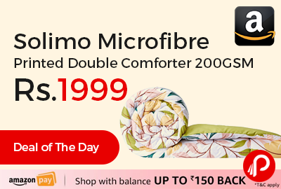 Solimo Microfibre Printed Double Comforter 200GSM