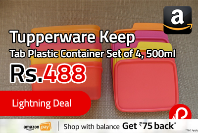Tupperware Keep Tab Plastic Container Set of 4