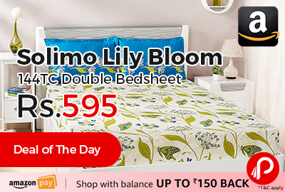 Solimo Lily Bloom 144TC Double Bedsheet