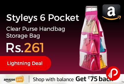 Styleys 6 Pocket Clear Purse Handbag Storage Bag