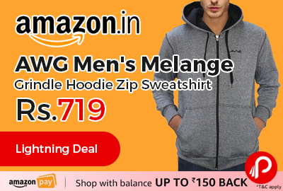 AWG Men's Melange Grindle Hoodie Zip Sweatshirt