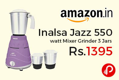 Inalsa Jazz 550 watt Mixer Grinder 3 Jars