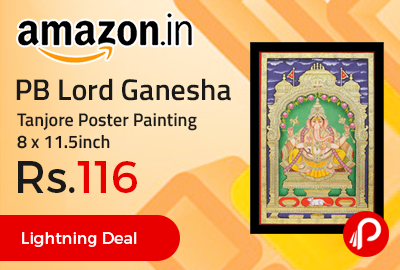 PB Lord Ganesha Tanjore Poster Painting 8 x 11.5inch