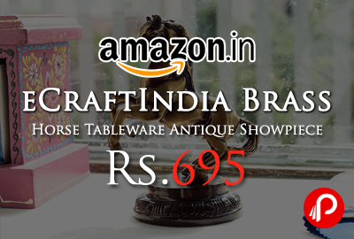 eCraftIndia Brass Horse Tableware Antique Showpiece