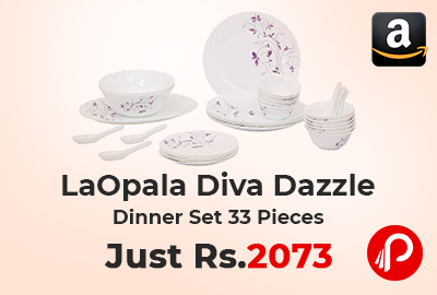 LaOpala Diva Dazzle Dinner Set 33 Pieces just Rs.2073 - Amazon