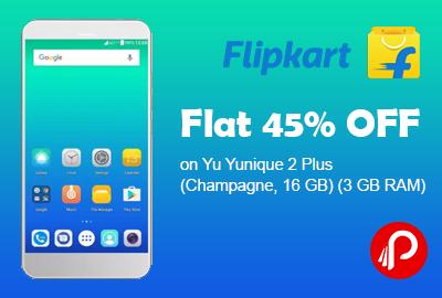 Flat 45% OFF on Yu Yunique 2 Plus (Champagne, 16 GB) (3 GB RAM) - Flipkart