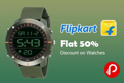 Flat 50% Discount on Watches- Flipkart