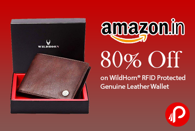 80% Off on WildHorn® RFID Protected Genuine Leather Wallet- Amazon