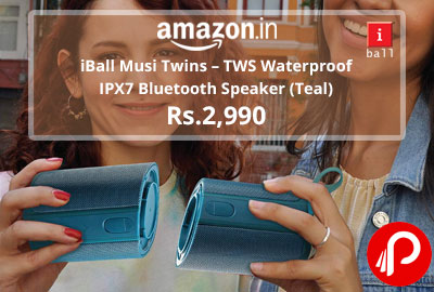 iBall Musi Twins – TWS Waterproof IPX7 Bluetooth Speaker (Teal) @ 2,990 - Amazon India