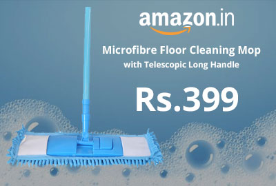 Microfibre Floor Cleaning Mop with Telescopic Long Handle @ 399 - Amazon India