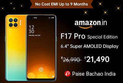 OPPO F17 Pro (Metallic White, 8GB RAM, 128GB Storage) - Amazon India