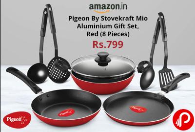 Pigeon By Stovekraft Mio Aluminium Gift Set, Red (8 Pieces) @ 799 - Amazon India