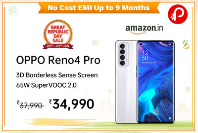 Oppo Reno4 Pro (Silky White, 8GB RAM, 128GB Storage) @ 34,990 - Amazon India