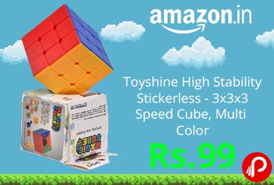 Toyshine High Stability Stickerless - 3x3x3 Speed Cube, Multi Color @ 99 - Amazon India