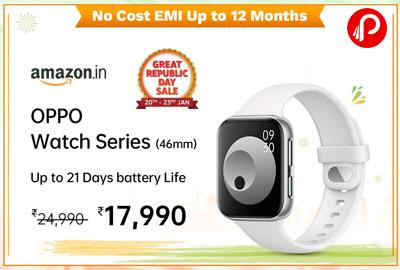 OPPO Watch 46MM WiFi (Black) @ 17,990 - Amazon India