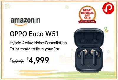 OPPO ENCO W51 True Wireless Earphone (Floral White) @ 4,499 - Amazon India