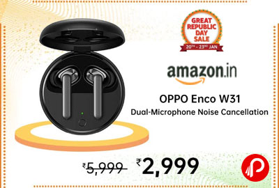 OPPO ENCO W31 True Wireless Earphone (Black) @ 2,999 - Amazon India